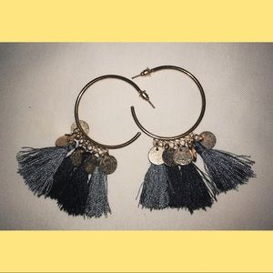 zaful: grey tassel earrings